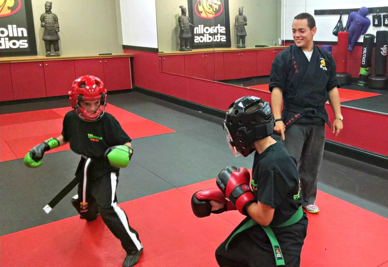Steve DeMasco's Shaolin Studios students sparring safely