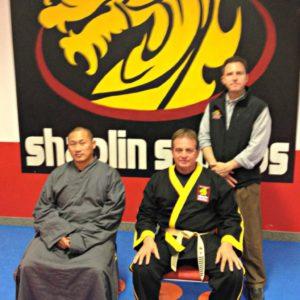 Grandmaster DeMasco and Master Meyer with Shaolin Monk Sifu Yanxu during visit to Steve DeMasco's Shaolin Studios in Keene, NH