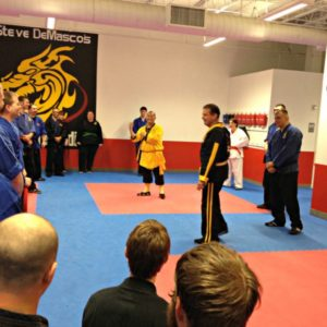 Grand Master Steve DeMasco with Shaolin Monk Sifu Yanxu during visit to Steve DeMasco's Shaolin Studios in Keene, NH